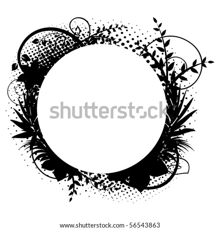 Circle frame with floral decorations 2 - stock vector