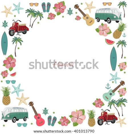 Circle frame with hawaii symbols. Summer symbols.  - stock vector