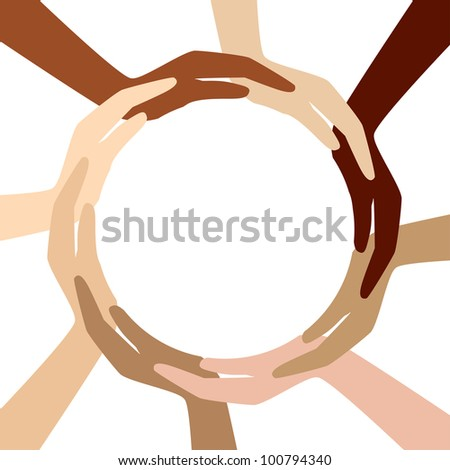 circle from different hands - stock vector