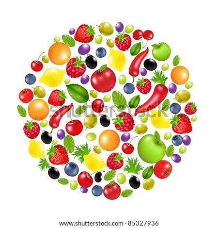 Circle From Vegetables And Fruit, Isolated On White Background, Vector Illustration - stock vector