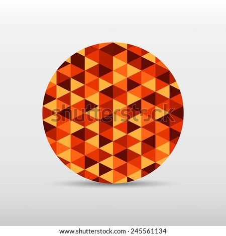 circle gradient orange color and triangle polygon pattern on white background (vector)