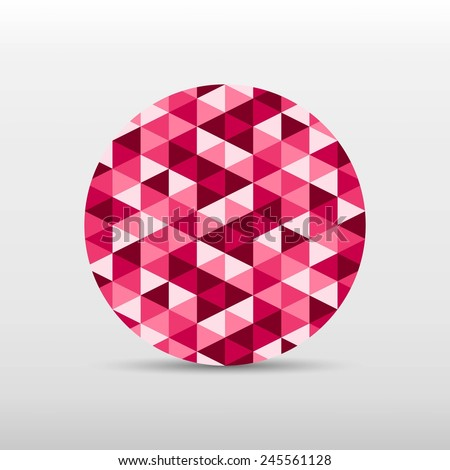 circle gradient pink color and triangle polygon pattern on white background (vector)