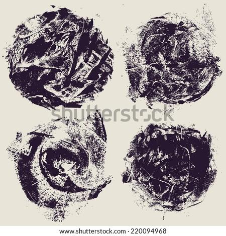 circle halftone grunge textures set. vector illustration - stock vector