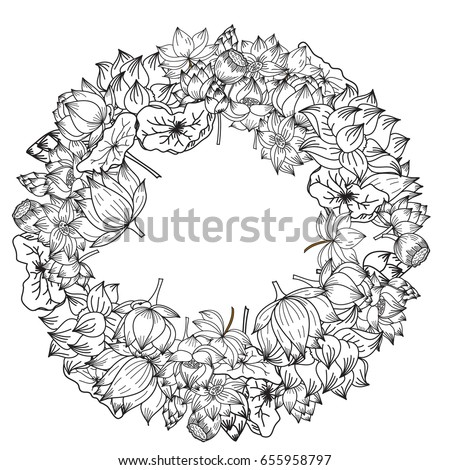 Circle Hand Drawn Lotus Flower Vector For Coloring Book And Zentangle Design