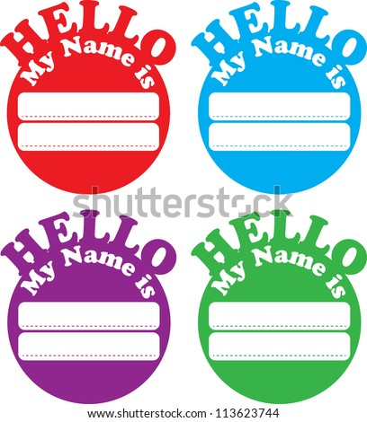 Circle Hello Name Tag - stock vector