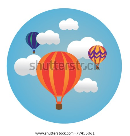 circle illustration of balloons in clouds - stock vector
