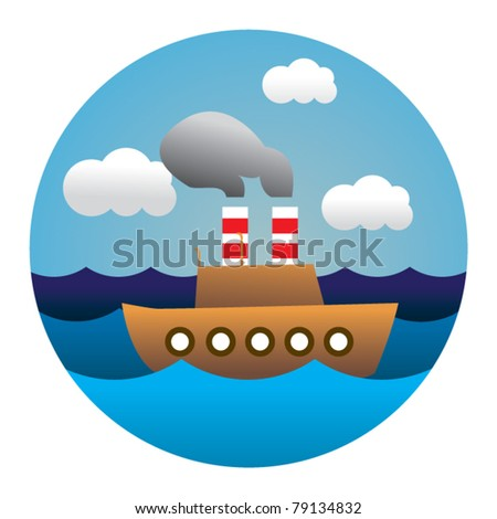 circle illustration of boat in waves - stock vector