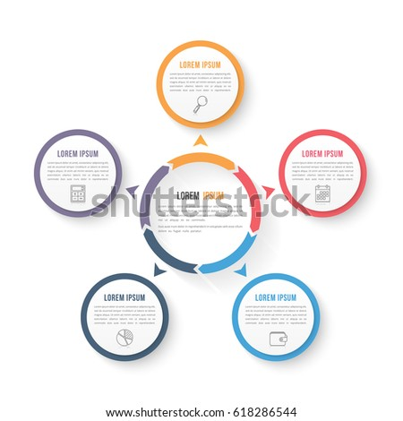 Circle infographic template with five elements, steps or options, workflow or process diagram, data vizualization, vector eps10 illustration