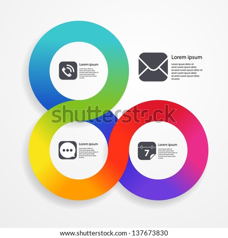 Circle infographic web template of colorful stripe - stock vector