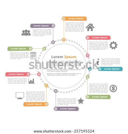Circle infographics design, round process diagram template, vector eps10 illustration - stock vector