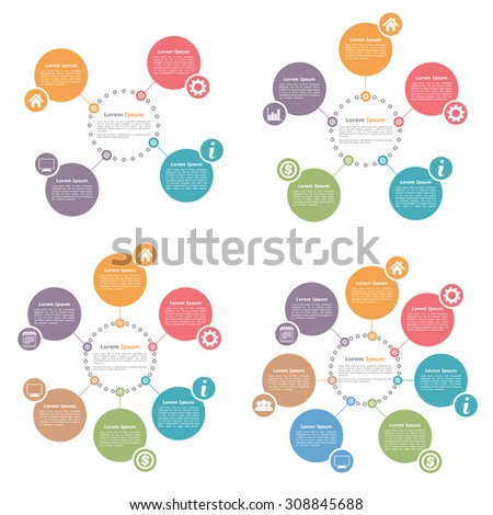 Circle infographics design templates set, four, five, six and seven steps or options, vector eps10 illustration - stock vector