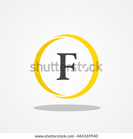 Circle Initial Letter F Uppercase Logo Stock Vector 464269940