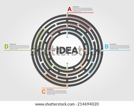 Circle labyrinth infographic concept. Design template. - stock vector