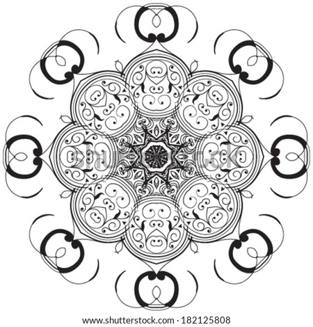 Circle lace ornament, round ornamental geometric doily pattern - stock vector