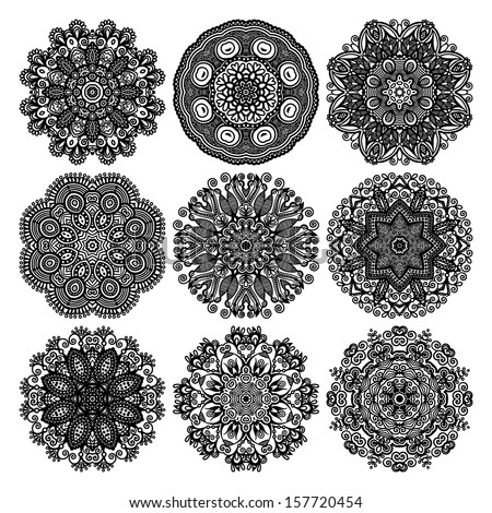 Circle lace ornament, round ornamental geometric doily pattern, black and white collection - stock vector