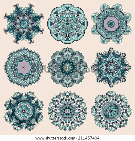 Circle lace ornament, round ornamental geometric doily pattern collection - stock vector