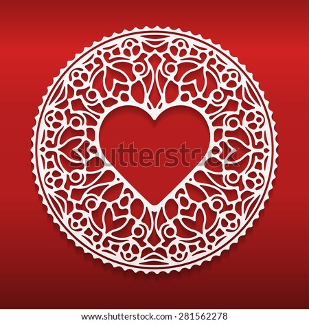 Circle lace ornament, round ornamental geometric doily pattern with heart shaped empty space for text. Vector illustration greeting, wedding invitation, Valentine's card. Dark red background, EPS10. - stock vector