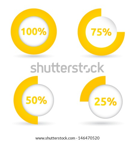 Circle loading bar | color yellow | vector template | business icon with shadow - stock vector