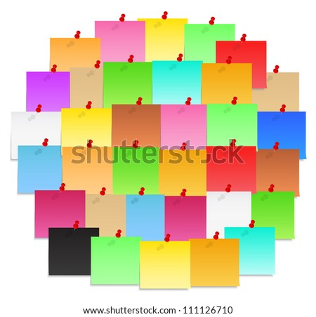 Circle made of color paper notes, vector eps10 illustration - stock vector