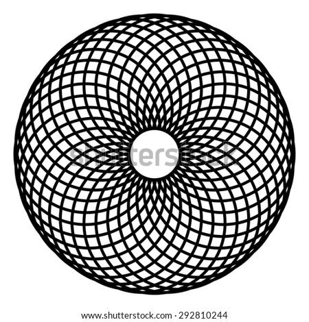 Circle mandala vector, spirograph, geometric logo design - stock vector