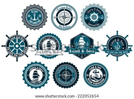 Circle marine heraldic labels with anchors, compass, sailboat and ropes for nautical and logo design - stock vector