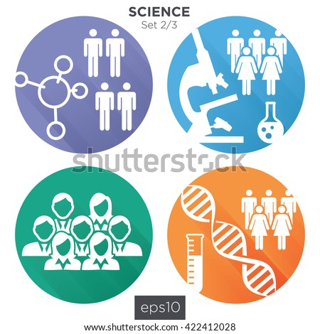 Circle 2/3 Medical Healthcare Icons with People Charting Disease or Scientific Discovery - stock vector