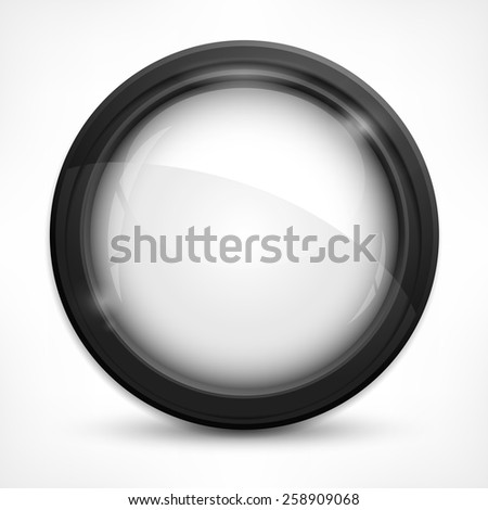 Circle metallic design elements with glass on white, vector illustration - stock vector