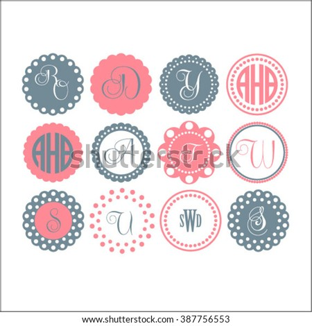 circle monogram frames cutting file vector clipart vinyl design - Monogram Frames