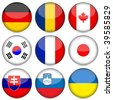 Circle national flag icon set. Vector illustration. - stock vector