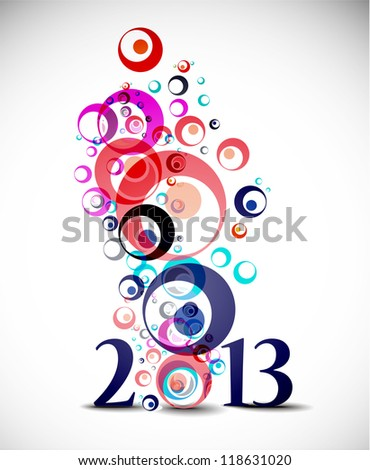 circle New year 2013 background. - stock vector