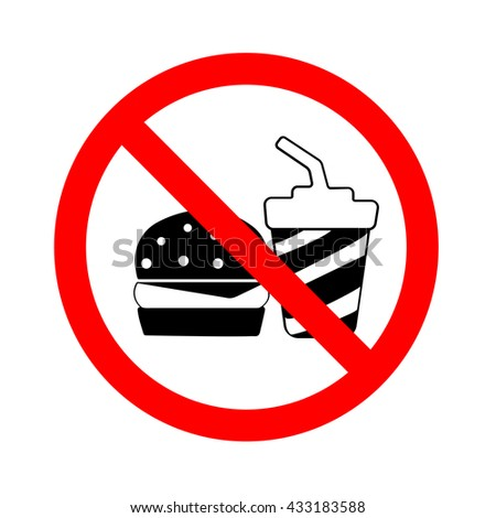 Circle No Food and Drink Sign Isolate on White Background - stock vector