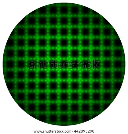 Circle of green squares on white background. Vector illustration.