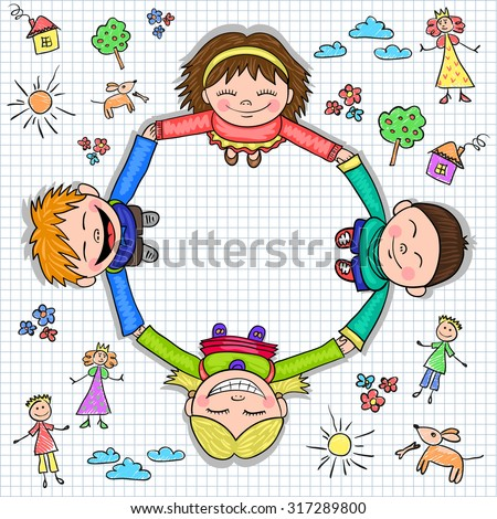Circle of kids holding hands on the paper checkered and children's drawings, vector illustration - stock vector