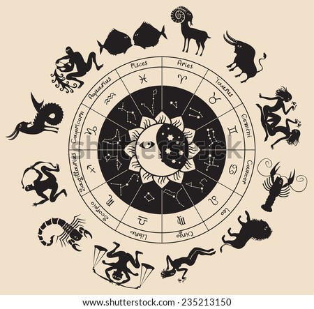 circle of the zodiac signs and antique style - stock vector