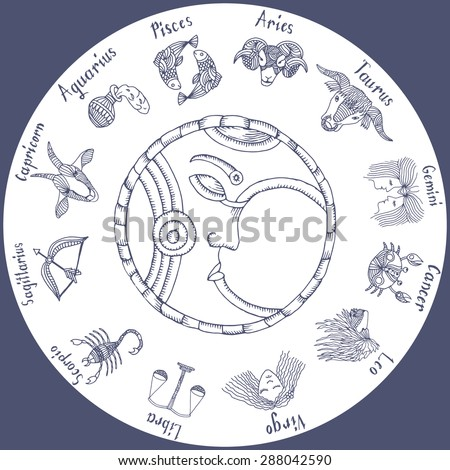 circle of the zodiac signs with Moon in the middle  - stock vector