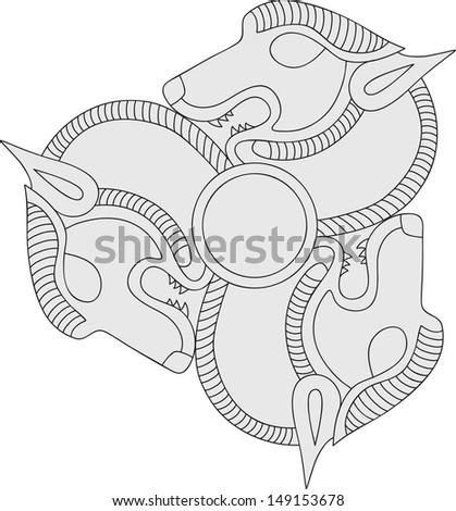 circle of wolves - stock vector