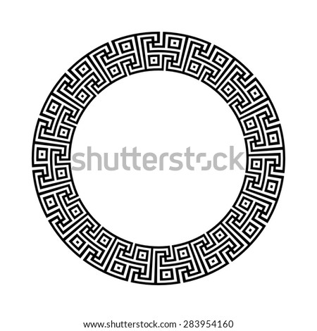 Circle ornament meander. Round frame, rosette of ancient elements. Greek national antique round pattern, vector. Gammadion cross pattern - stock vector