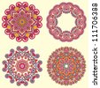 Circle ornament, ornamental round lace collection - stock vector