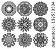 Circle ornament, ornamental round lace collection - stock photo