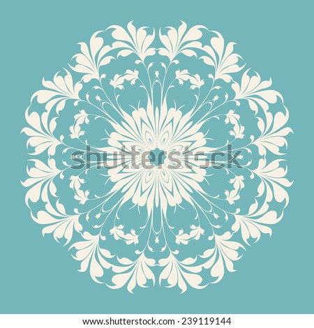 Circle ornament, ornamental round lace. Vector illustration. - stock vector