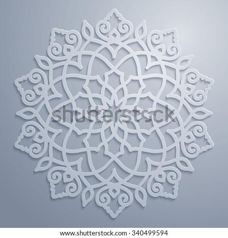 Circle ornamental geometric arabic pattern - stock vector