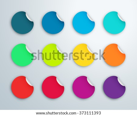 Circle Paper Sticker Note Set With Drop Shadows