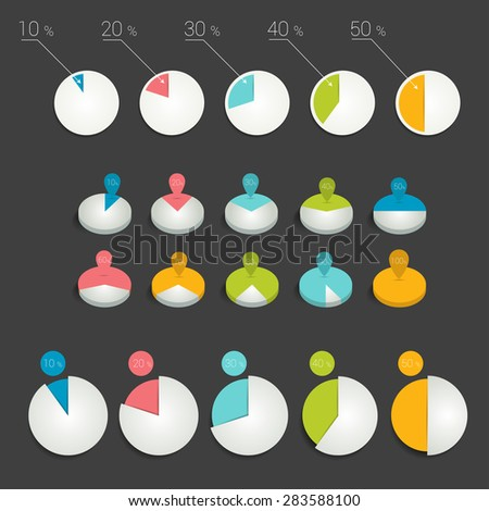 Circle pie charts, graphs. - stock vector