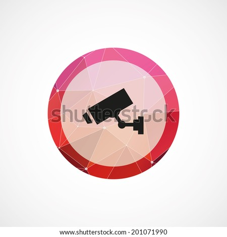 circle pink triangle background security camera icon - stock vector