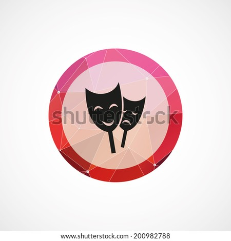 circle pink triangle background theater icon - stock vector
