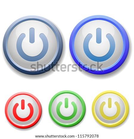 circle power off icon - stock vector