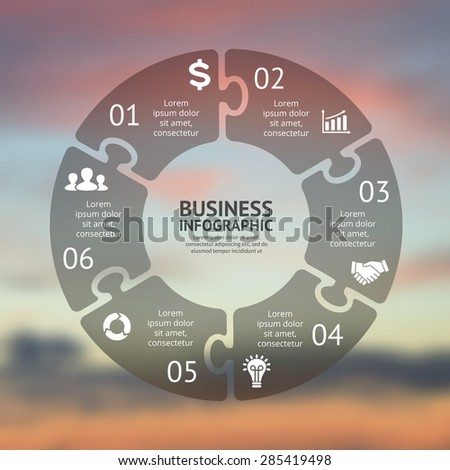 Circle puzzle infographic. Template for cycle diagram, graph, presentation and round chart. Business concept with 6 options, parts, steps or processes. Vector blur background. Easy editable. - stock vector