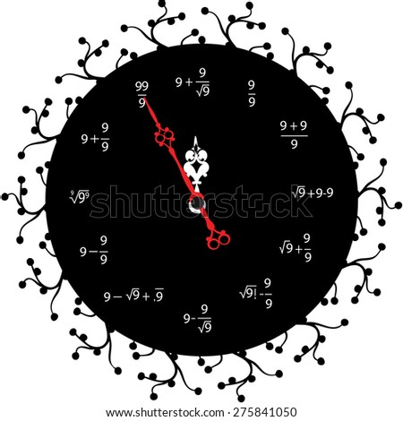 Circle retro analog wall clock with gold hands and calculate numbers with fifth minute left to 12 hour. 11:55 / 23:55 time vector art illustration, isolated on black background, realistic design eps10 - stock vector