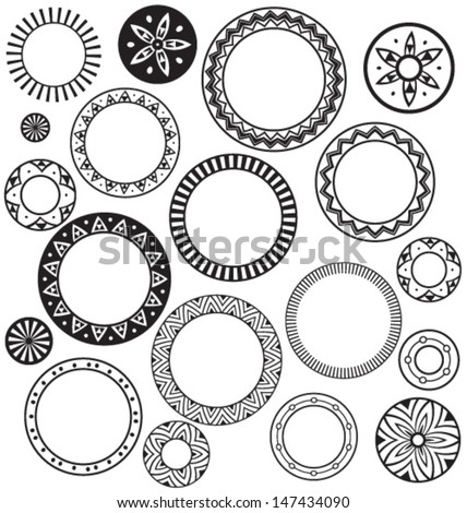 Circle & Ring Designs. Collection of nine. - stock vector