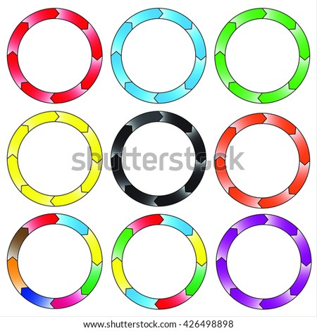 Circle, ring gradient. Set of 9 colorful circles. Eight connection. Vector, EPS.